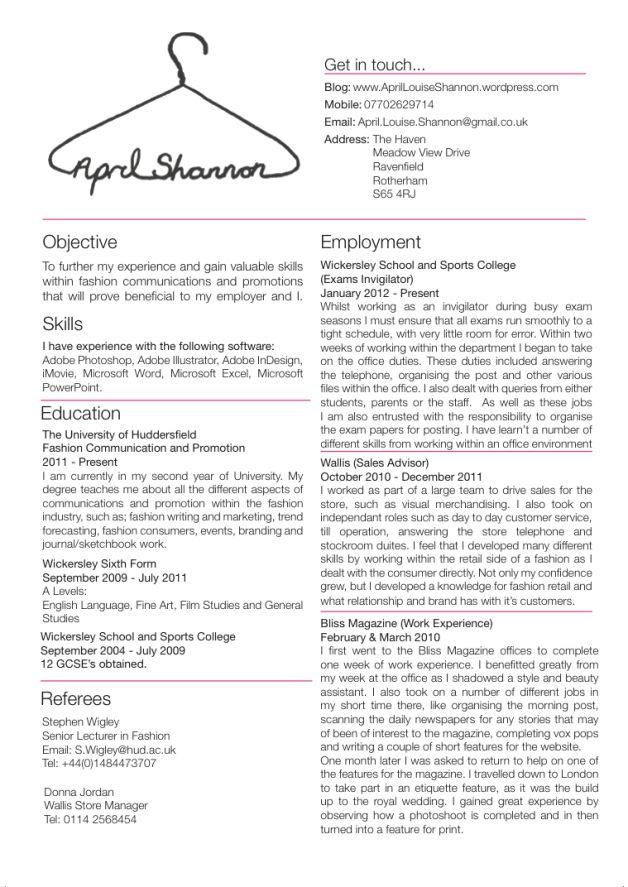 1000 Images About Resume On Pinterest Junior Fashion