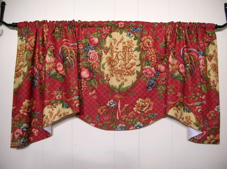 rustic kitchen valances how much are remodels waverly saison de printempts~red rooster toile~valance ...
