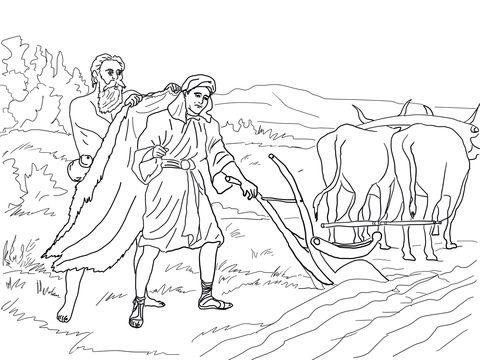 Elijah Chooses Elisha coloring page from Prophet Elijah