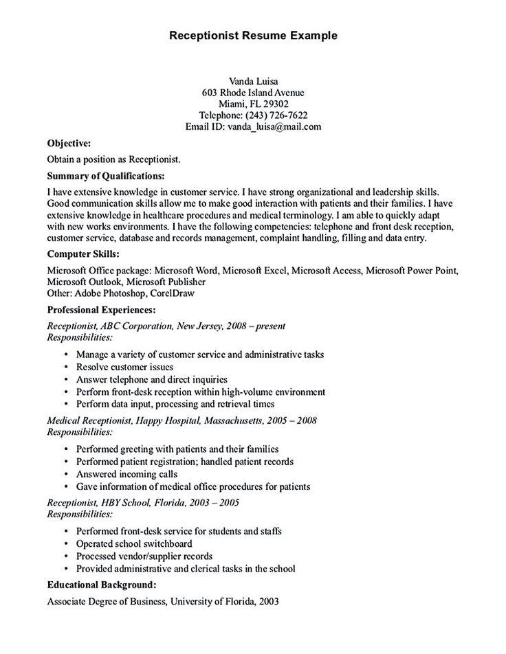 resume samples for receptionist   secretary
