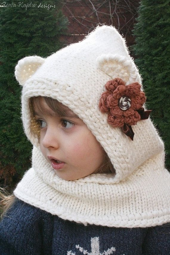 Knitting PATTERN Finnie Bear Hooded CowlKnitting pattern