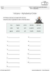 PrimaryLeap.co.uk - Alphabetical Order - Volcanoes ...