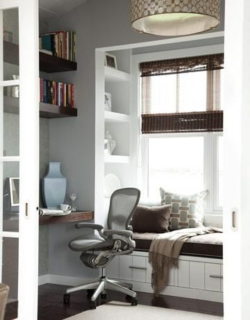 home office window bench a great office space - love the reading nook and built-in shelving that flank the seating area