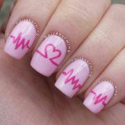 pink heart nails. valentine's
