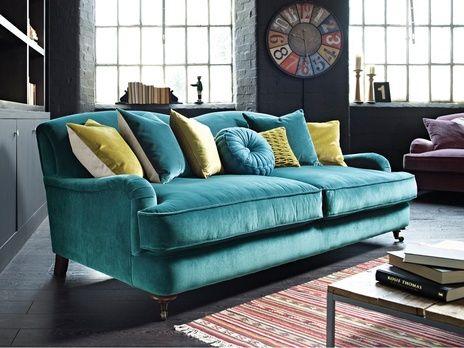 Peacock Sofa With Gray Walls Jillian Medford Marwell