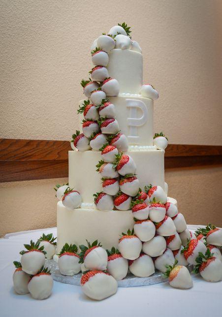 White Chocolate Strawberry Wedding Cake  The New MrsPatin  Pinterest  Strawberry Wedding