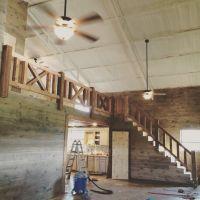 Farmhouse rustic Cedar railing stairs | Shop house ...