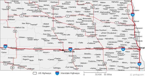 North Dakota Road Map North Dakota Pinterest Road