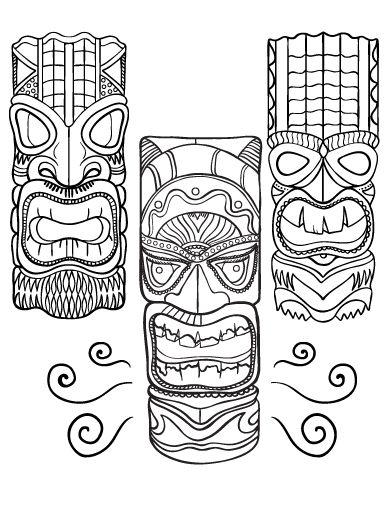 Printable tiki mask coloring page. Free PDF download at