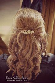 bridesmaid wedding hair bride