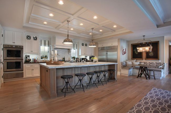 island with cabinet access behind stools. Also love the idea of the breakfast nook instead of a formal dining