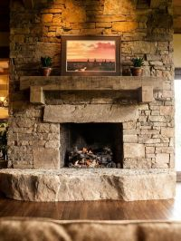 Stone fireplace with timber mantle | In and Out Fireplaces ...