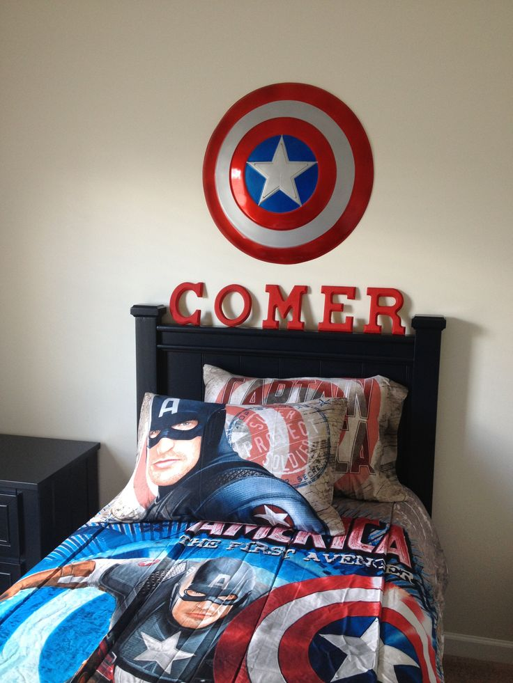 Captain America Bedroom I think Comer is the kids name awesome  Future Home Ideas