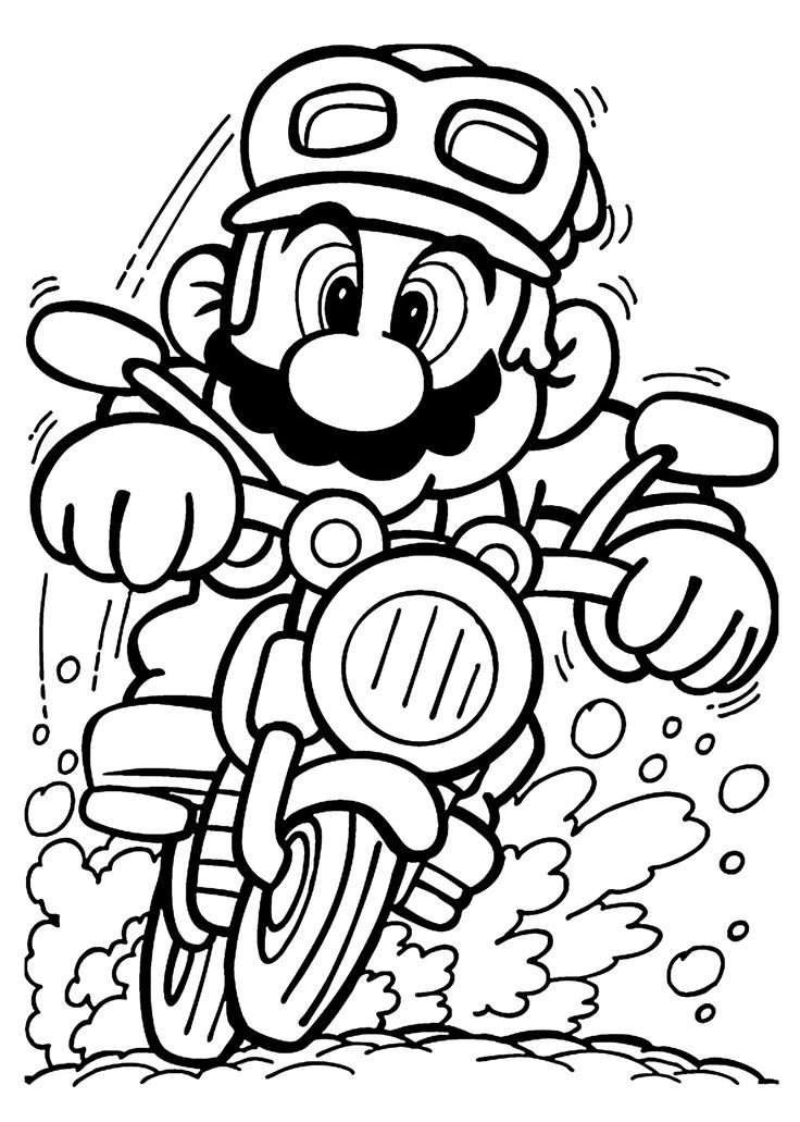 Mario on motorcycle coloring pages for kids, printable