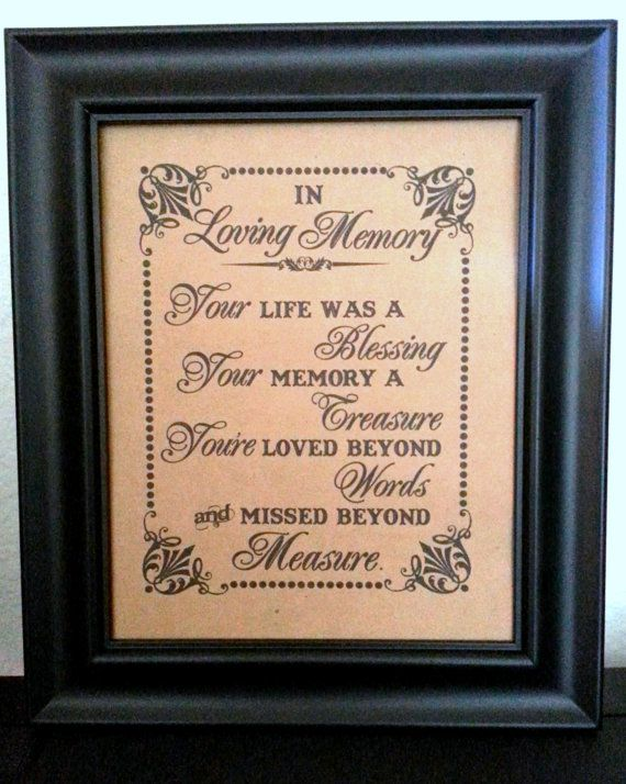 8 X 10 PRINT Loved Ones Remembrance In Loving Memory