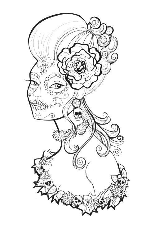 Free, printable, Day of the Dead Coloring Pages by Heather