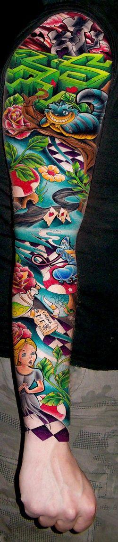 Alice In Wonderland sleeve tattoo