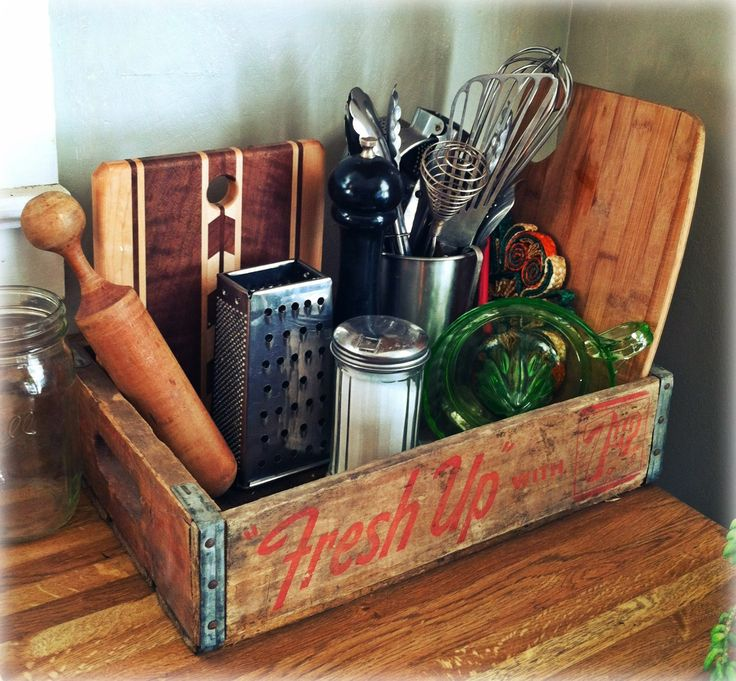 Old soda crate used as a countertop organizer  Home Love