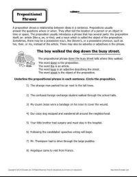 Preposition Worksheet - Prepositional Phrases ...