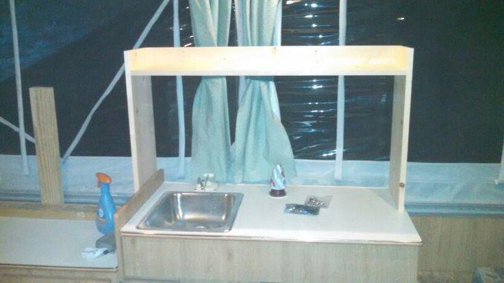 Pop up camper over sink shelf  pop up camper