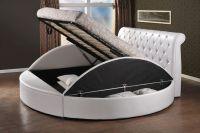 Round style storage ottoman gas lift up bed frame luxury ...