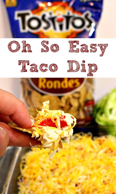 Six ingredient Oh So Easy Taco Dip  Here's the recipe: Mix 1 – 8 oz pkg cream cheese, 1 – 8 oz pkg sour cream and 2tbsp taco