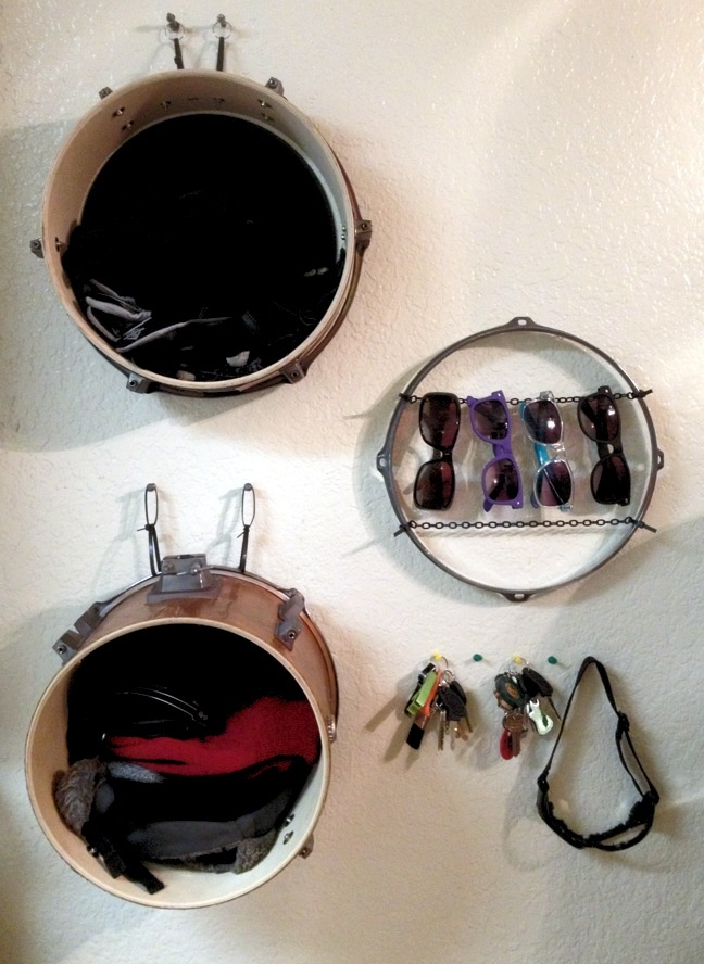 kitchen sink lights alder cabinets use an part of old drum set as shelves to organize ...