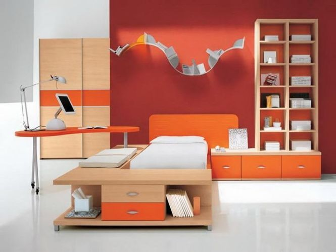 Bedroom Orange Picture Design Cool Room For Guys With Color Small Storage Books