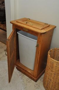 Found on EstateSales.NET: oak wooden trash can holder, ice ...