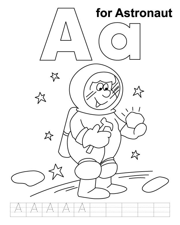 A for astronaut coloring page with handwriting practice