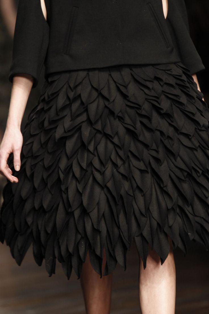 Wool Leaves – layered leaf texture skirt; fabric manipulation for fashion // John Rocha