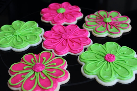bright daisy flower sugar cookies  cookies decorated