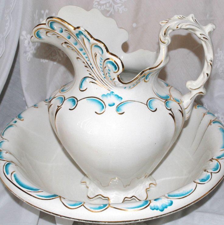 Dresden Semi Porcelain Large Victorian Water Wash Basin