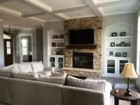 Example of fireplace with built-ins and coffered ceiling ...