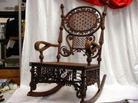 Fancy Rocking Chair Old Wicker Stick Ball Arts Crafts