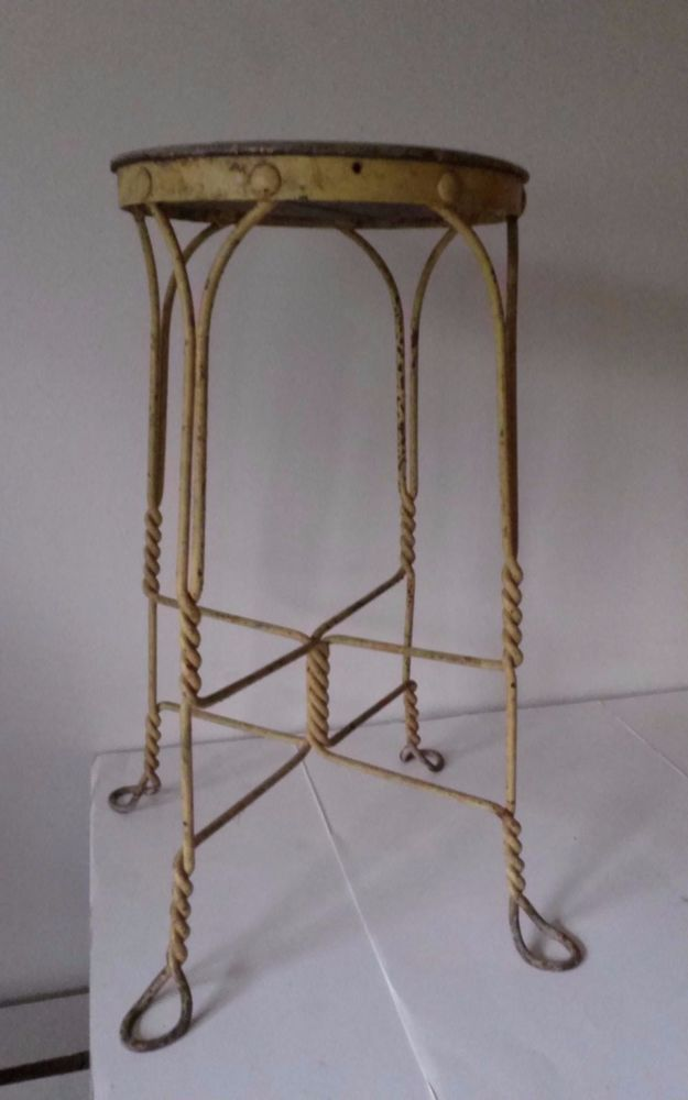 Antique Twisted Wrought Iron  wood Stool Ice Cream Parlor