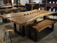 Freeform dining table in Suar wood with metal legs ...