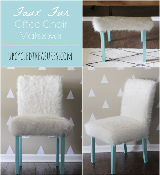 Whimsical Faux Fur Office Chair Makeover  Chairs Chair