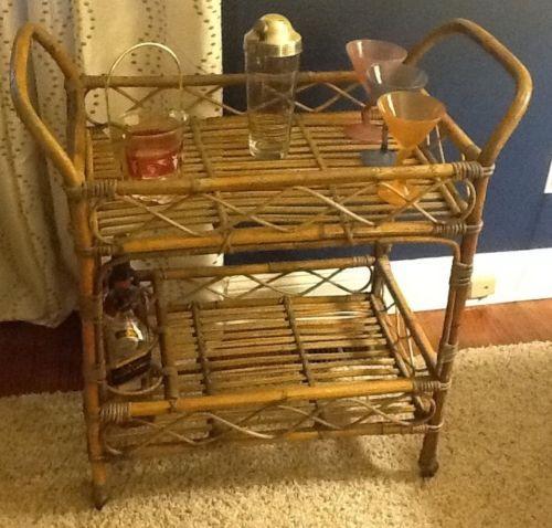 Vintage Mid Century Rattan Bamboo Tea Cart Bar Serving