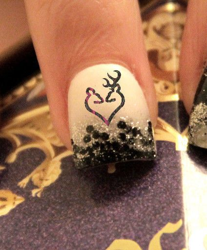 20 Water Slide Nail Decals Browning Camo Heart Couple Logo