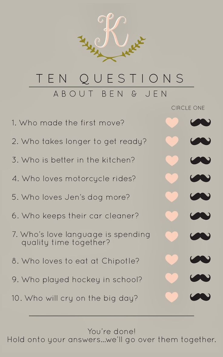 Bridal Shower Game: Ten Questions About The Couple Cute idea