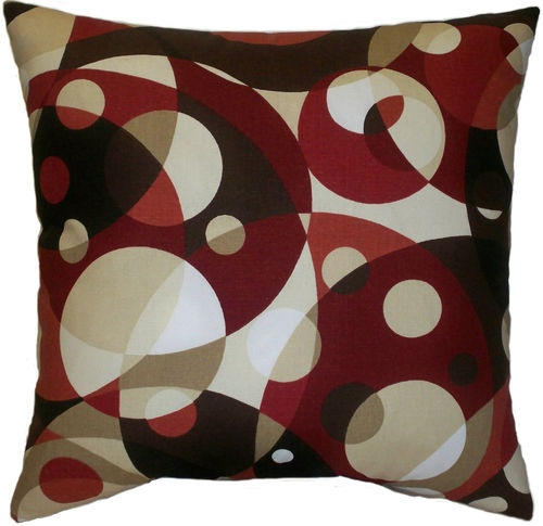 Modern Red Tan Brown Abstract Decorative Throw Pillow Toss