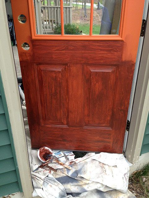 Thrifty Transformation How to Paint a Door to Look Like Wood  Paint Doors and To look