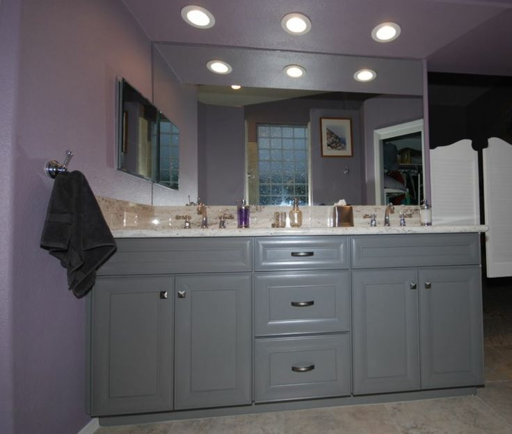 KraftMaid greyloft cabinetry with river white granite