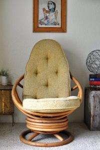 Vintage Rattan Swivel Rocking Chair/Tall Vintage Bamboo ...