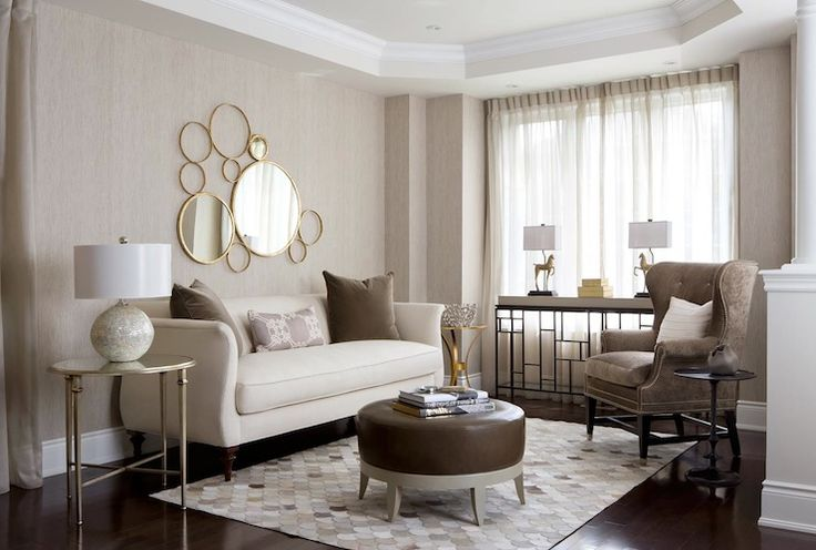 Toronto Interior Design Group Earth Toned Contemporary Living Room With Beige Textured Walls