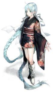 anime girl with long braid