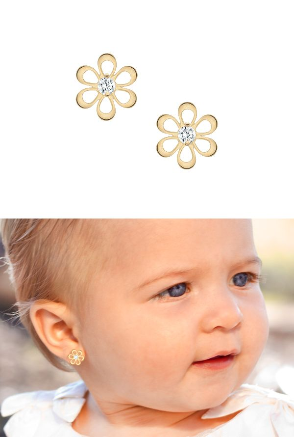 Flower silhouette baby earrings in solid 14k gold.