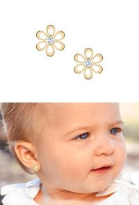 Flower silhouette baby earrings in solid 14k gold. | My ...