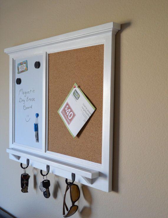 MAGNETIC White Board  Corkboard Organizer by BeachWoodKreations  Chore Chart Menu Planner